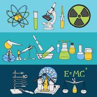 Banners de esboço de ciência vetor