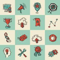 Conjunto de desenho colorido marketing internet SEO vetor