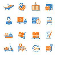Ícones logísticos conjunto laranja vetor