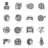 Preto de ícone de serviço de pneu