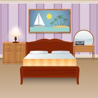 Quarto da cama interior vetor