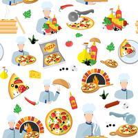padrão sem emenda de fabricante de pizza vetor