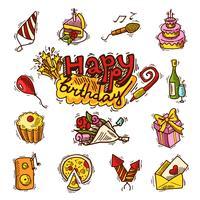 Conjunto de ícones de cor de desenho de aniversário