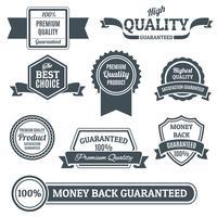 Rótulos de qualidade black set vetor