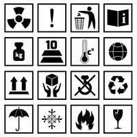 Embalagem Símbolos Preto vetor