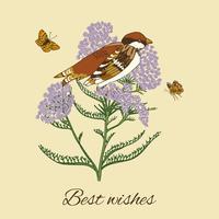 Cartão postal flor vintage vetor