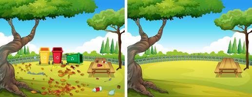 Antes e depois do jardim limpo vetor