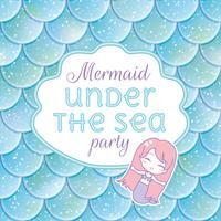 Convite para festa. Escamas de peixe brilhante, stiker kawaii sereia e quadro. Ilustração vetorial
