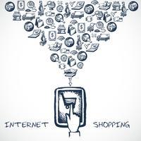 Conceito de desenho de compras de Internet vetor