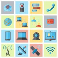 Conjunto de ícones de comunicação plana