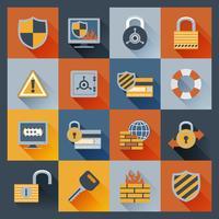 Ícones de segurança definido plano