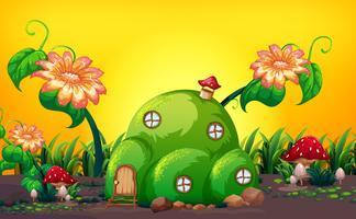 Casa de fadas colina verde na natureza vetor
