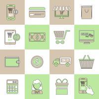 Ícones de comércio eletrônico definir linha plana