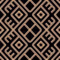 Teste padrão sem emenda do ornamento geométrico chain do ouro no fundo preto. Ilustração vetorial