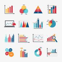 Conjunto de ícones de gráfico de negócios plana