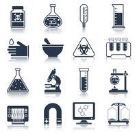 Ícones de equipamento de laboratório pretos