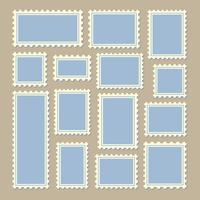 selos postais tamanho diferente em azul e branco