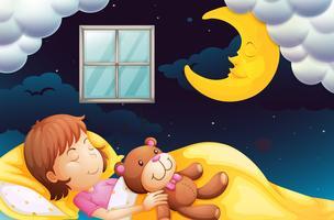 Menina dormindo à noite vetor