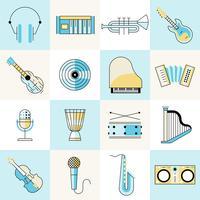 Conjunto de linha plana de instrumentos musicais