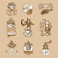 Conjunto de rótulos de café