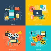 Composição de ícones plana de cinema