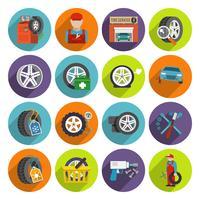 Conjunto de ícones de serviço de pneus
