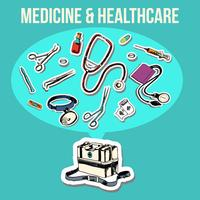 Desenho de esboço de medicina vetor