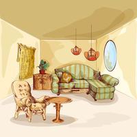Esboço interior de sala de estar