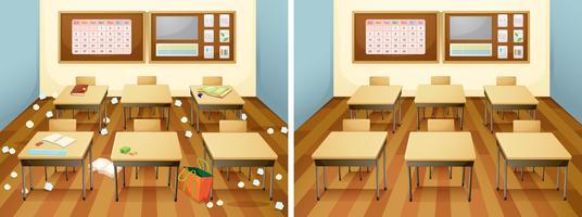 Uma sala de aula antes e depois da limpeza vetor