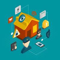 Ícones isométricos de segurança em casa