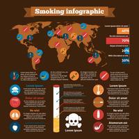 Conjunto de infográficos de fumar vetor