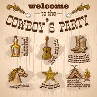 Conjunto de festa de vaqueiro vetor