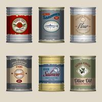 Conjunto de latas de alimentos vetor