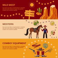 Banners de Cowboy planas vetor