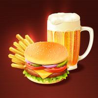 Fundo de hambúrguer e cerveja vetor