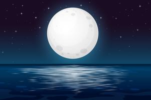 Uma noite de lua cheia no oceano vetor