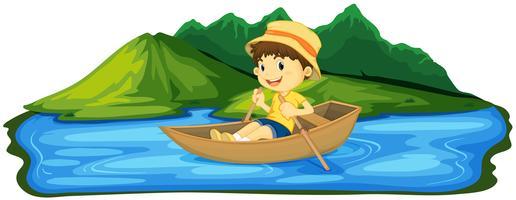 Um, menino, remando, bote