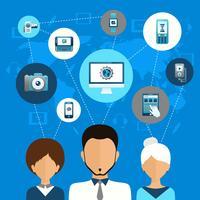 Conceito de comunicação de dispositivo móvel vetor