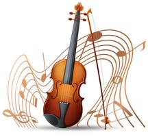 Violino com notas musicais no fundo vetor