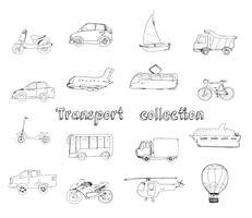Conjunto de doodle de transporte