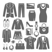 Conjunto de roupa de mulher de negócios vetor