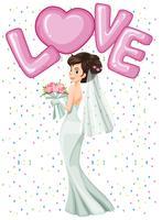 Noiva linda no vestido branco vetor