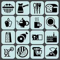 Cozinhar ícones de comida preta