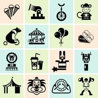 Conjunto de ícones de circo preto vetor