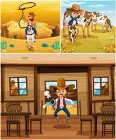 Cenas de cowboys com cowboys em diferentes ações vetor