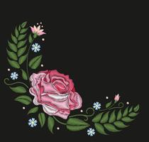 Flores rosas isoladas no fundo preto. Ilustração vetorial Padrão de linha de pescoço popular bordado.