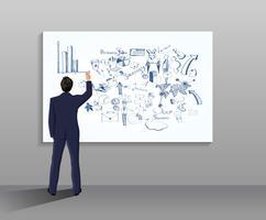 Homem negócios, desenho, ilustração