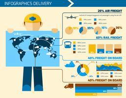 Infografia de entregador vetor