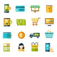 Ícones de comércio eletrônico definida plana