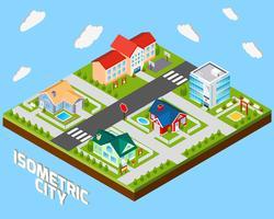 Projeto de cidade isométrica vetor